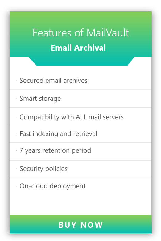 Features of MailVault Email Archival Solution